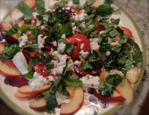 Tomato peach burrata salad