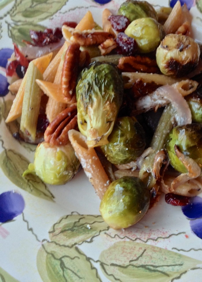 Brussels Sprout Brown Butter Pasta with Cranberries, Pecans and Goat Cheese